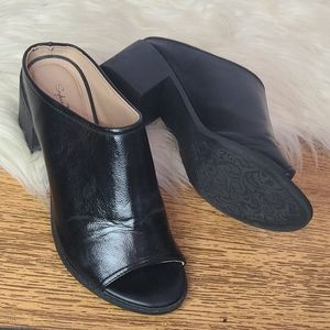 Black leather wedge open toe mules size 8